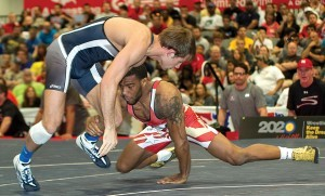 This final match at the 2013 ASICS U.S. Open in Las Vegas featured the 2011 and '12 Hodge Trophy winners: Jordan Burroughs (right) and David Taylor. The former NCAA champ from Nebraska, World and Olympic champion won to solidify his top spot 163 pounds in freestyle.