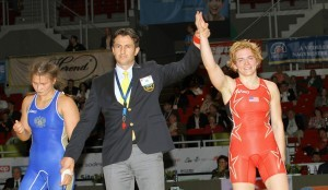 Elena Pirozkhova, who was born in Russia but grew up near Boston, defeated Russian Anastasia Bratchikova for the bronze medal at 138 pounds at the FILA Worlds in Budapest, Hungary. (Bob Mayeri image)