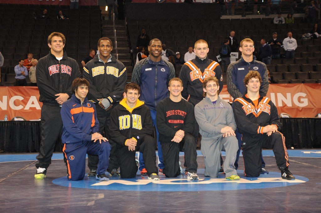The 2014 NCAA Individual champions included (front row, from left) Jesse Delgado, Tony Ramos, Logan Stieber, Jason Tsirtsis, Alex Dieringer and (back row from left) Nick Gwiazdowski, J'den Cox, Ed Ruth, Chris Perry and David Taylor. (Ginger Robinson image)