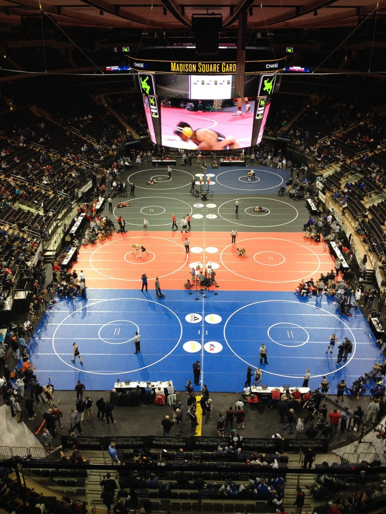 "Madison Square Garden has been the site of competitive wrestling the past  two Decembers as ""Grapple in the Garden"" has drawn several  highly-ranked programs like Iowa, Oklahoma State and Iowa."