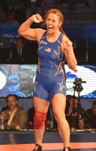 Adeline Gray may be 24 years old but the child in this three-time World champion came out Thursday night at the Orleans Arena in Las Vegas. The native of Colorado hopes to inspire other young girls to wrestle in the future. (Ginger Robinson photo)