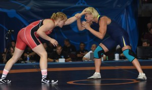 In a battle of 2012 World champs, America's Elena Pirozhkova (left) had a tough time penetrating the defense of Sweden Jenny Fransson. (Ginger Robinson photo)