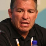 BEIJING - AUGUST 04: Head coach Steve Fraser of the United States Wrestling team answers questions during a news conference in the Main Press Centre ahead of the Beijing 2008 Olympic Games on August 4, 2008 in Beijing, China. (Photo by Jed Jacobsohn/Getty Images)