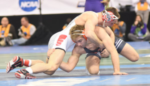Ohio State's Jake Ryan (top) led 8-5 before Oklahoma State's Joe Smith scored a late takedown and benefitted from a stalling point against Ryan. (Ginger Robinson photo)