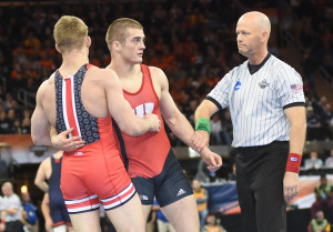 Wisconsin's Isaac Jordan (center) beat his cousin Bo of Ohio State for a third time this year but will need to beat Oklahoma State's two-time champ Alex Dieringer for the title. (Ginger Robinson pix)