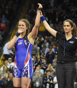 Adeline Gray, a three-time World champ, could not contain her emotions after easily winning the Trials title at 75k in women's freestyle.